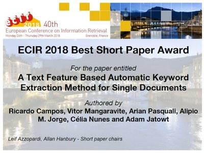 Equipa INESC TEC vence mais um Best Paper Award